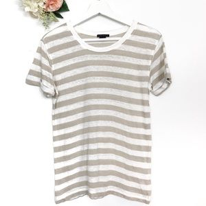 Theory Lisso Linen Cream White Striped Tee Size SP